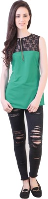 Vvine Party, Casual Sleeveless Solid Women's Green Top