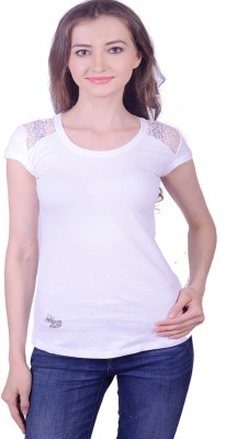 Lee Marc Casual Short Sleeve Solid Women's White Top