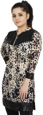 Sringar Casual 3/4 Sleeve Printed Women's Black Top
