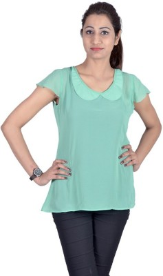 Indicot Casual, Party Short Sleeve Solid Women's Light Green Top
