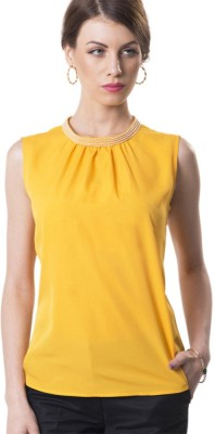 The Office Walk Formal Sleeveless Solid Women's Yellow Top
