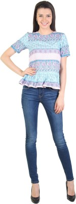 E Syrus Casual 3/4 Sleeve Printed Women,s Multicolor Top