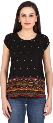 pinklady Casual Short Sleeve Printed Women's Black Top