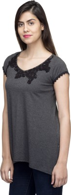 LY2 Casual Short Sleeve Embroidered Women,s Grey Top