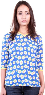 Ar2 Casual 3/4 Sleeve Printed Women's Blue Top