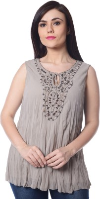 Trendy Divva Casual Sleeveless Self Design Women's Brown Top