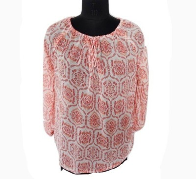 Eleganceranuka Casual 3/4 Sleeve Printed Girl's Orange Top