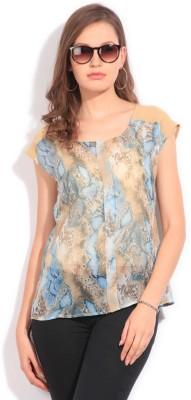 Latin Quarters Casual Short Sleeve Animal Print Women,s Blue, Beige Top