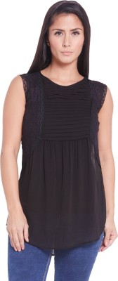 Globus Casual Sleeveless Solid Women's Black Top