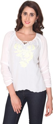 Bedazzle Casual Full Sleeve Embroidered Women's White Top at flipkart