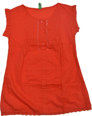 Palm Tree Casual Sleeveless Solid Girl's Red Top