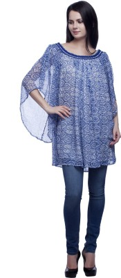 MansiCollections Casual Bell Sleeve Printed Women's Blue Top