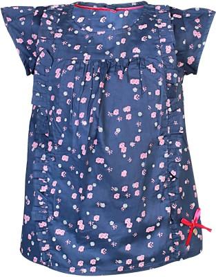Blue Giraffe Casual 3/4 Sleeve Self Design Girl's Multicolor Top