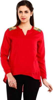 Mustard Casual Full Sleeve Solid Women's Red Top