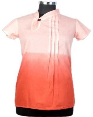 Jaipur Vogue Casual Short Sleeve Solid Women's Pink, Orange Top