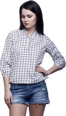 Mallory Winston Casual 3/4 Sleeve Checkered Women's White Top