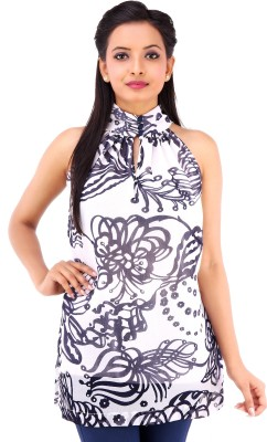 Inblue Fashions Casual Sleeveless Printed Women's Black Top