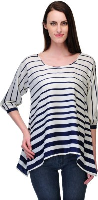 Just Wow Casual 3/4 Sleeve Striped Women's Blue, White Top
