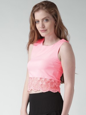 Mast & Harbour Casual Sleeveless Solid Women's Pink Top