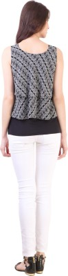 Vvine Party, Casual Sleeveless Printed Women's Black Top