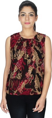 Fashion Hut Casual Sleeveless Solid Women's Multicolor, Red Top