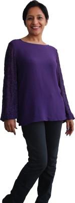 Kyma Party, Lounge Wear Full Sleeve Solid Women's Purple Top