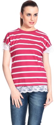Rute Casual Short Sleeve Striped Womens Pink Top