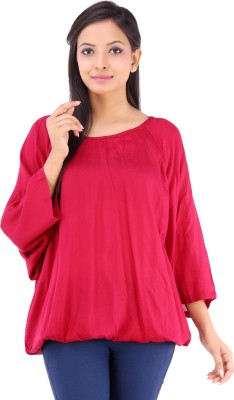 Inblue Fashions Casual 3/4 Sleeve Solid Women's Maroon Top