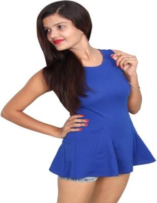 Vanya Enterprises Casual Sleeveless Solid Women's Blue Top