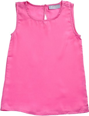 Kami Casual Sleeveless Solid Girl,s Pink Top