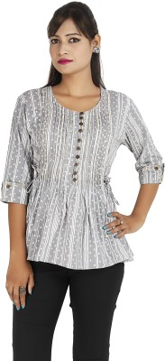 Ra Studio Casual, Beach Wear 3/4 Sleeve Printed Women's Grey Top