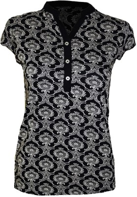 Groviano Casual Short Sleeve Floral Print Women's Black Top