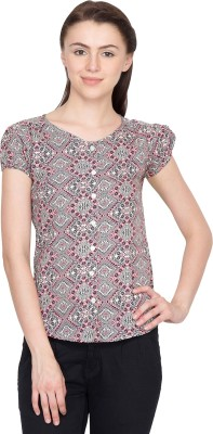 Golden Couture Casual Puff Sleeve Printed Women's Multicolor Top