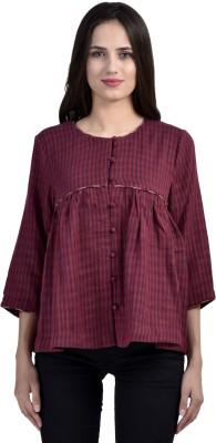 Vasstram Casual 3/4 Sleeve Striped Women's Maroon Top