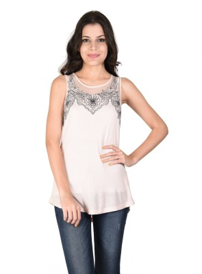 Latin Quarters Casual Sleeveless Embroidered Women,s Pink Top