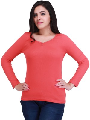 Nirosha Casual Full Sleeve Solid Women's Pink Top
