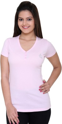 Meei Formal, Casual, Sports Short Sleeve Solid Women's Pink Top