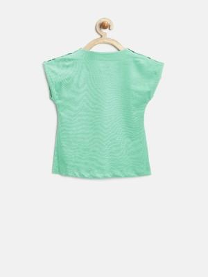 Yk Casual Short Sleeve Printed Girl's Green Top
