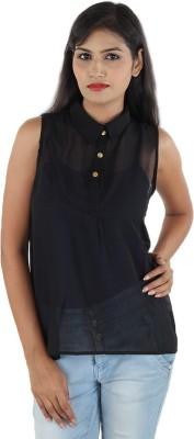Aimeon Casual Sleeveless Self Design Women's Black Top