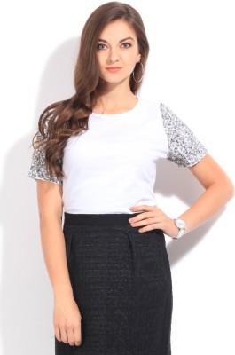 Van Heusen Casual Short Sleeve Solid Womens White Top