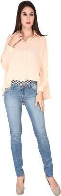 SOIE Casual Full Sleeve Solid Women's Beige Top