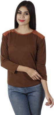 Golden Couture Casual, Party 3/4 Sleeve Self Design Women's Brown Top