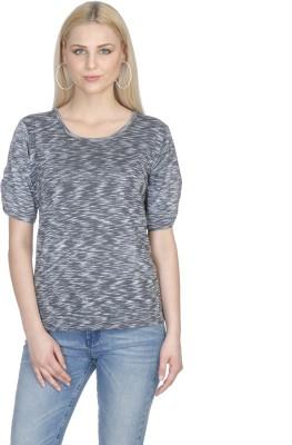 Aussehen Casual Short Sleeve Solid Women's Grey Top