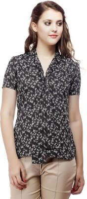ORIANNE Casual Short Sleeve Floral Print Women's Black Top
