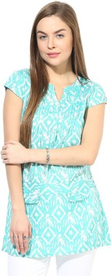 Latin Quarters Casual Short Sleeve Printed Women's Blue Top