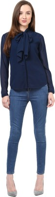 Indicot Casual, Party Full Sleeve Solid Women's Dark Blue Top