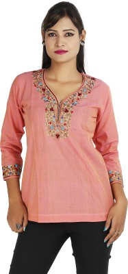 Ra Studio Casual, Festive 3/4 Sleeve Embroidered Women's Pink Top