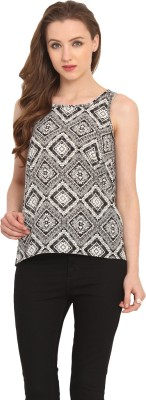 Label VR Casual Sleeveless Printed Women's Black Top