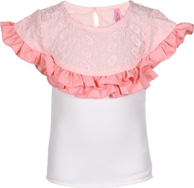 Tickles By Inmark Casual Cape Sleeve Self Design Girl's Pink Top