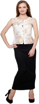 AT BY TARUNA Casual Sleeveless Printed Women's Beige Top